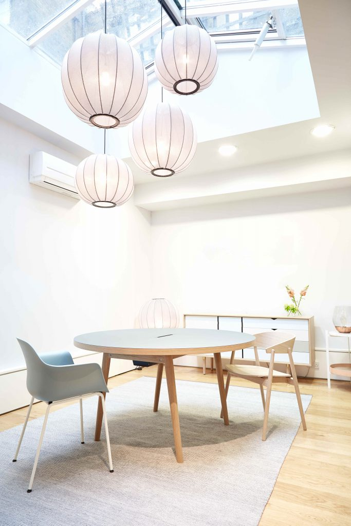 Bright room with round table