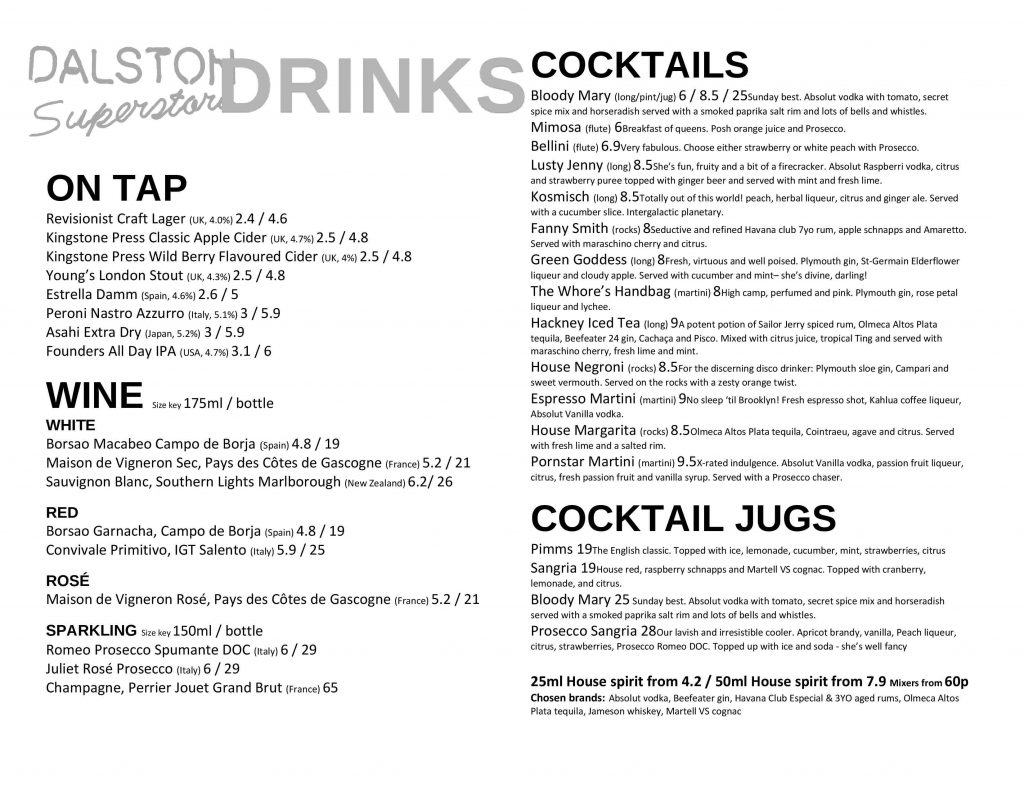 Dalston Superstore Drinks Menu