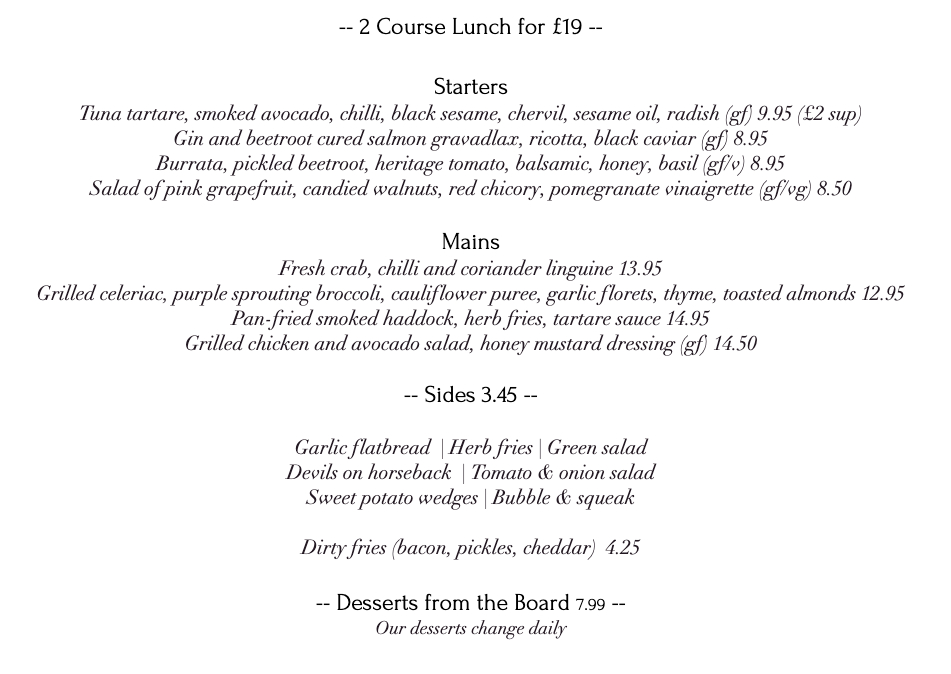 33 Abbeville road menu for 2 course lunch