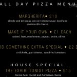 The Exhibitionist Hotel pizza menu
