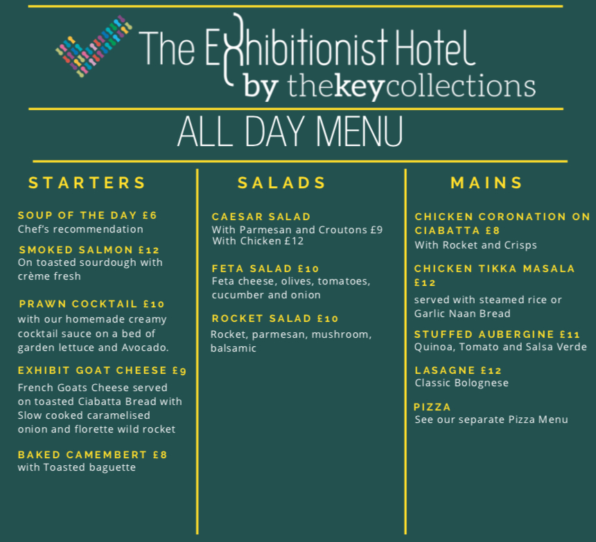 The Exhibitionist Hotel mains and starters menu