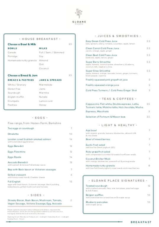 Sloane Place Breakfast menu