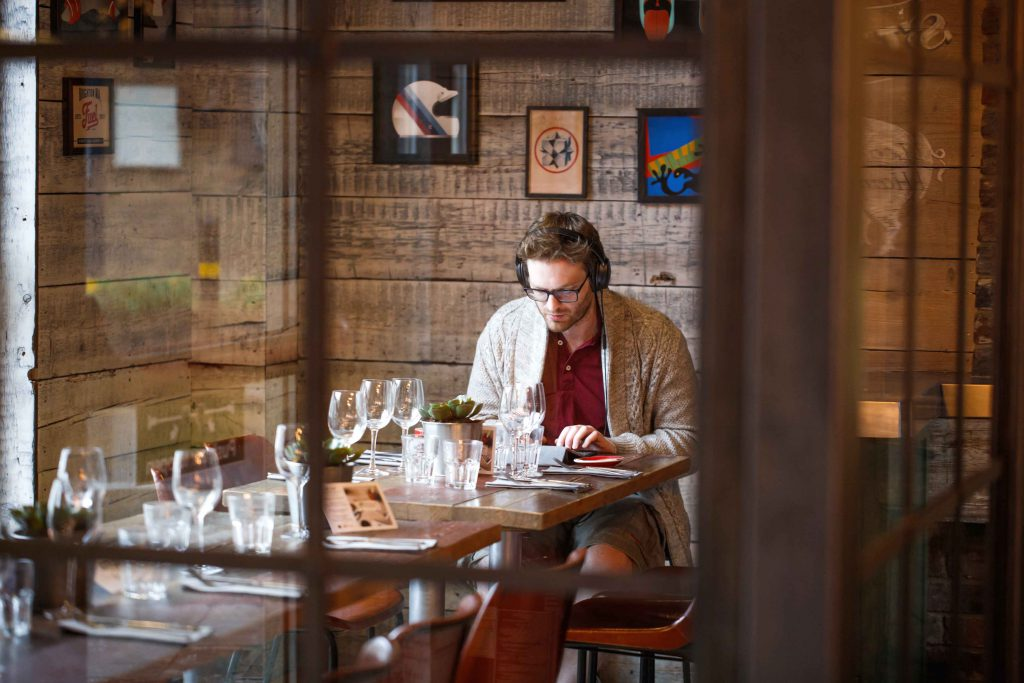 Remote worker working from the plough's free workspace near Clapham Junction