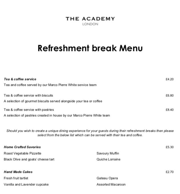 The Academy Hotel Refreshment break menu