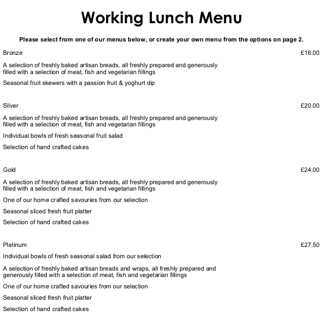 The Academy Hotel working lunch menu 1