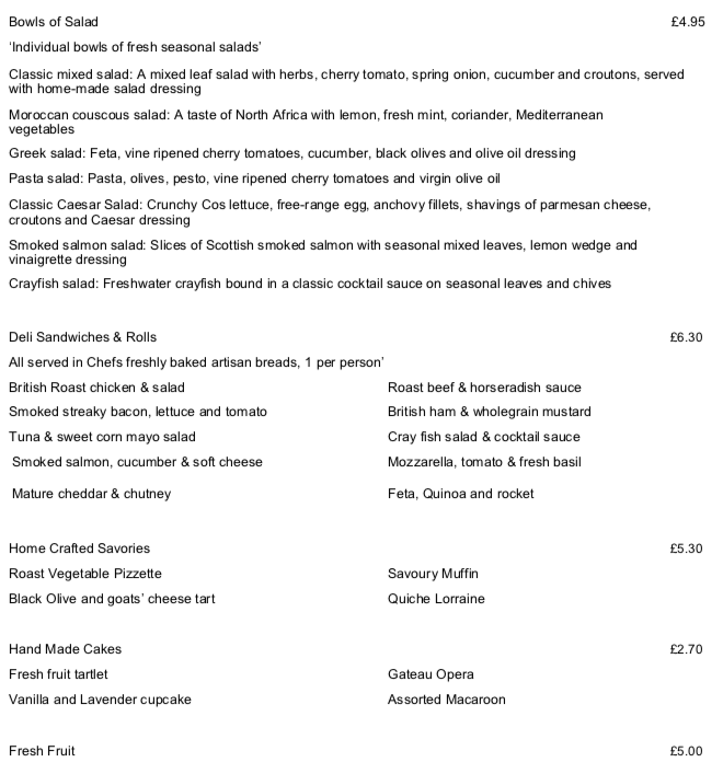 the Academy Hotel Working lunch menu 2