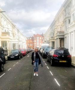 Maxene, walking through a London Street in South Kensington