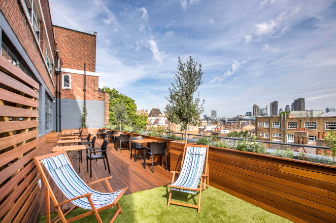 Clerkenworks Terrace with a view on London