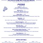 Platform Pizza menu