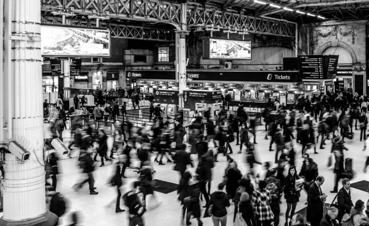 Busy train station in London.