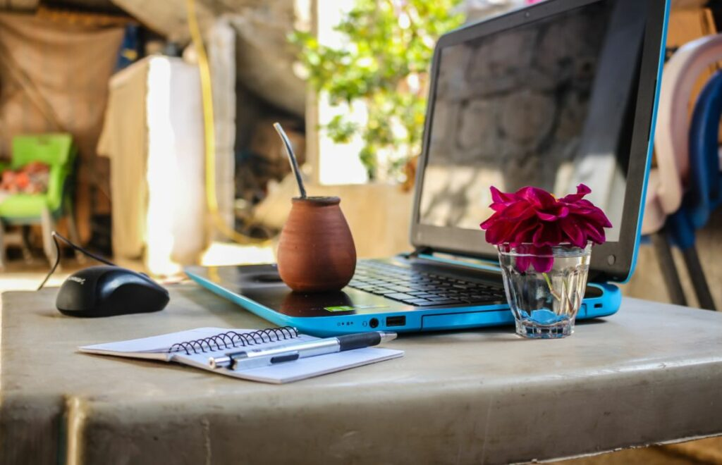 A laptop in a sunny place