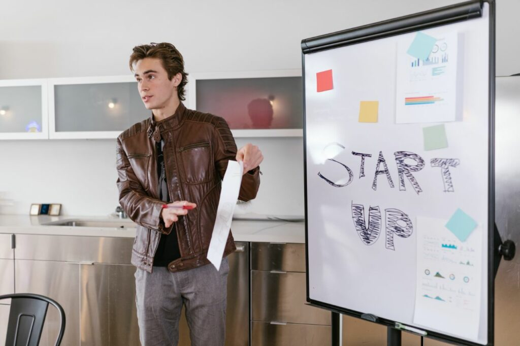 Start-up founder presenting his business idea