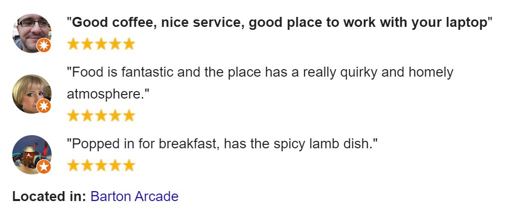 Google Reviews about Pot Kettle Black coffeeshop in Manchester