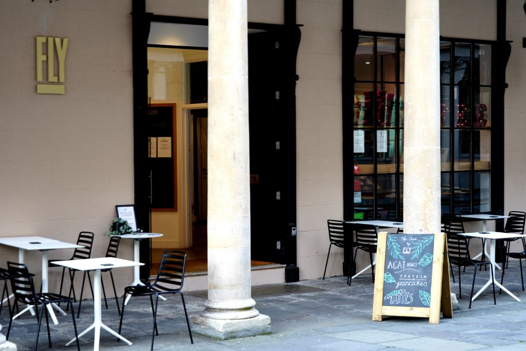 Entrance to the coffeeshop Fly in Bath.